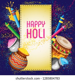 Vector illustration on colorful background for holi festival of colors. Attributes of the holiday under the stitched parchment.