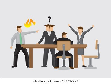 Vector illustration on different behaviors of business people during heated conflict in meeting. Concept for managing conflict at work.