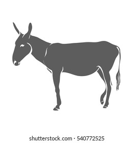 Vector illustration on a graphic tablet. Hand drawing. Silhouette of a donkey.