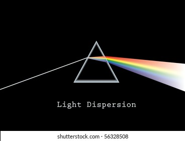 Vector illustration on how light disperses when passing through a glass prism. CMYK colors.