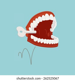 Vector illustration on jumping chattering teeth practical joke item