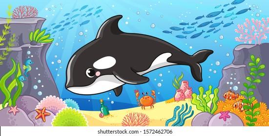 Vector illustration on a marine theme with a cute killer whale. Sea life in cartoon style.