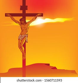 Vector illustration on religion theme with the mountain Calvary and the crucifixion. Cross with crucified Jesus Christ at sunset. Religious banner with the biblical story for Easter or Good Friday