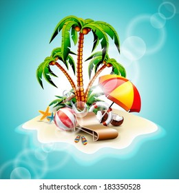 Vector illustration on a summer holiday theme with paradise island on sea background. EPS 10 design.