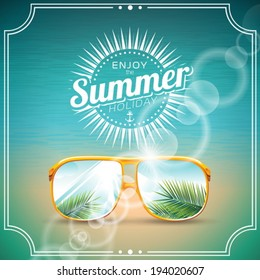 Vector illustration on a summer holiday theme with sunglasses. EPS 10 design.