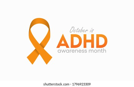 Vector illustration on the theme of ADHD (attention deficit hyperactivity disorder) awareness month observed each year during October.