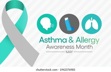 Vector illustration on the theme of asthma and allergy awareness month observed each year in May. people may have allergic asthma if they have trouble breathing during allergy season.