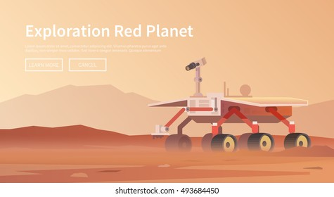 Vector illustration on the theme: astronomy, space flight, space exploration, colonization, space technology. The web banner. Mars rover.