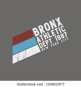 Vector illustration on the theme of athletic in New York City, Bronx. Vintage design. Grunge background.  Number sport typography, t-shirt graphics, poster, print, banner, flyer, postcard