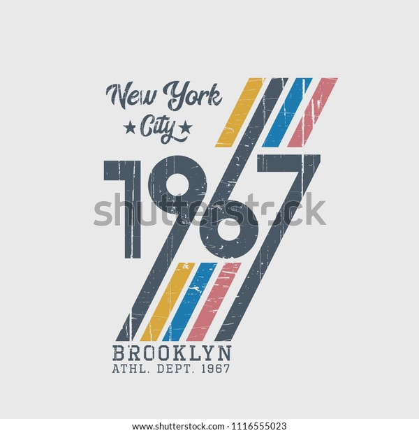 Vector illustration on the theme of athletic in New York City, Brooklyn. Vintage design. Grunge background.  Number sport typography, t-shirt graphics, poster, print, banner, flyer, postcard