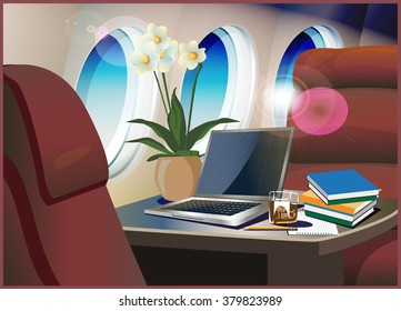 Vector illustration on the theme of aviation. Interior of the private jet.