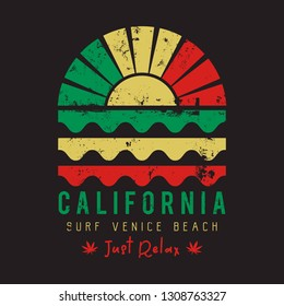Vector illustration on the theme of California, surfing, marijuana and reggae music. Typography, t-shirt graphics, print, poster, banner, flyer, postcard