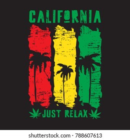 Vector illustration on the theme of California, marijuana and reggae music. Grunge background. Typography, t-shirt graphics, print, poster, banner, flyer, postcard