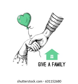 Vector illustration on the theme of charity. A new family for the child. Done in black, isolated from the background. Drawn by hand