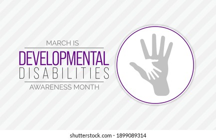 Vector illustration on the theme of Developmental Disabilities awareness month. They are a group of conditions due to an impairment in physical, learning, language, or behavior areas.