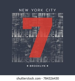 Vector illustration on the theme of dude in New York City, Brooklyn. Number sport typography, t-shirt graphics, print, poster, banner, flyer, postcard
