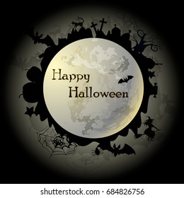 Vector illustration on the theme Happy Halloween. Can be used as poster, banner, sticker, fly er or greeting card. There is image of moon and Halloween collections for festive creative colored design.