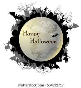 "Vector illustration on the theme ""Happy Halloween"". Can be used as poster, banner, sticker, fly er or background. There is image of moon and Halloween collections for festive creative colored design."