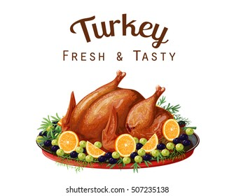 Vector illustration on the theme of the holiday dishes, roast turkey, made in a realistic style. Isolated on white background.
