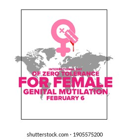 Vector illustration on the theme of International Day of zero tolerance for female genital mutilation on February 6th.