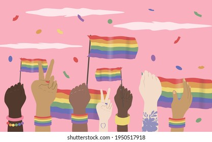 vector illustration on the theme of the lgbt movement, queer community. hands of people of different races with rainbow flags. lgbt pride, gay pride. flat modern illustration