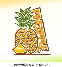 Vector illustration on the theme of the logo for pineapple still life composition, consisting of ripe pineapple with green leaf and a juicy slice of fruit. plant in peel.