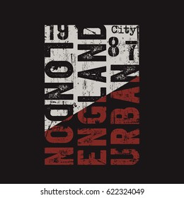 Vector illustration on the theme of London, England. Vintage design.  Grunge background. Number sport typography, t-shirt graphics, print, poster, banner, flyer, postcard