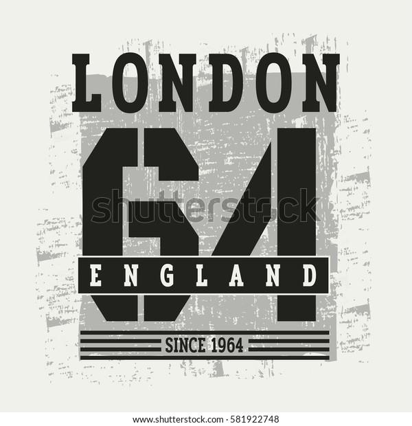 Vector illustration on the theme of London, England. Vintage design.  Grunge background.Number sport typography, t-shirt graphics, print, poster, banner, flyer, postcard