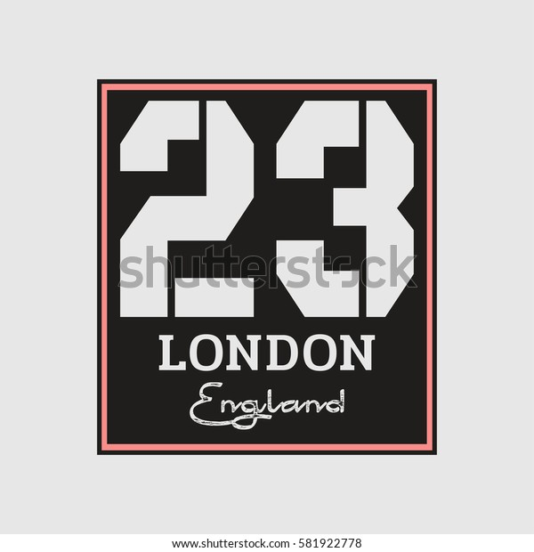 Vector illustration on the theme of London, England. Number sport typography, t-shirt graphics, print, poster, banner, flyer, postcard