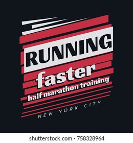 Vector illustration on a theme of marathon and running in New York City.  Sport typography, t-shirt graphics, poster, print, run, banner, flyer, postcard