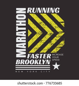Vector illustration on a theme of marathon and running in New York City, Brooklyn.  Grunge background.  Sport typography, t-shirt graphics, poster, print, run, banner, flyer, postcard