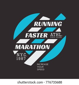 Vector illustration on a theme of marathon and running in New York City, Brooklyn.  Abstract background. Sport typography, t-shirt graphics, poster, print, run, banner, flyer, postcard