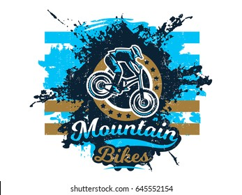 Vector illustration on the theme of mountain bike, cyclist performing a trick on a bicycle, downhill, freeride. Grunge effect, text, inscription. Typography, T-shirt graphics, print, banner, poster