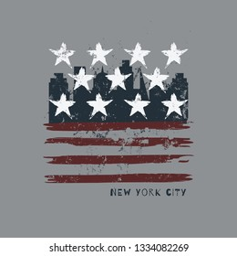 Vector illustration on a theme of New York City, Brooklyn. Stylized American flag. Grunge background. Vintage design. Typography, t-shirt graphics, poster, banner, print, flyer, postcard