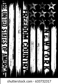 Vector illustration on the theme of New York City freedom. Stylized American flag. Grunge background. Typography, t-shirt graphics, print, poster, banner