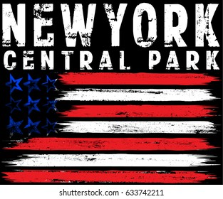 Vector illustration on the theme in New York City freedom. Stylized American flag. Grunge background. Typography, t-shirt graphics, print, poster, banner