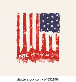 Vector illustration on a theme of New York City, Brooklyn. Vintage design.  Stylized American flag. Grunge background. Typography, t-shirt graphics, poster, banner, print, flyer, postcard