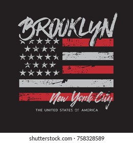 Vector illustration on a theme of New York City, Brooklyn. Vintage design. Grunge background. Stylized American flag.  Typography, t-shirt graphics, poster, print, banner, flyer, postcard