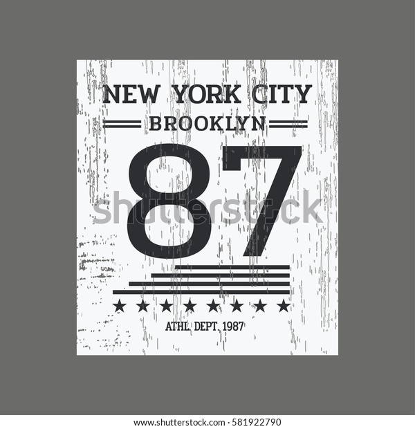 Vector illustration on the theme of New York City, Brooklyn. Vintage design.  Number sport typography, t-shirt graphics, poster, print, banner, flyer, postcard