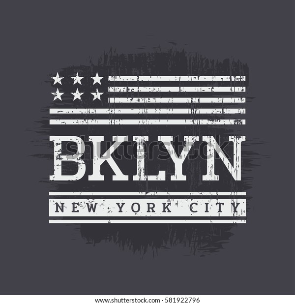 Vector illustration on the theme in New York City, Brooklyn. Stylized American flag. Grunge background. Typography, t-shirt graphics, print, poster, banner, flyer, postcard