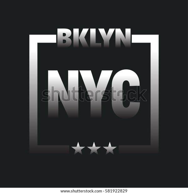 Vector illustration on the theme in New York City, Brooklyn. Typography, t-shirt graphics, poster, print, banner, flyer, postcard