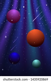 Vector illustration on the theme of outer space, nebulae, the universe and distant galaxies. Colorful space planets