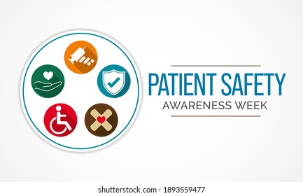 Vector illustration on the theme of Patient Safety awareness week observed each year during March to increase awareness about patient safety among health professionals, patients, and families.