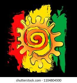 Vector illustration on the theme of rasta. The sun on the flag rasta, on a black background, isolated. Typography, t-shirt graphics, print, poster, banner, flyer, postcard