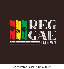 Vector illustration on the theme of reggae music. Slogan: love and peace. Vintage design. Grunge background. Typography, t-shirt graphics, poster, banner, flyer, print, postcard