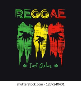 Vector illustration on the theme of reggae music. Vintage design. Grunge background.  Typography, t-shirt graphics, poster, banner, flyer, postcard