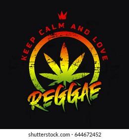 7c6f6b679dc8 Vector illustration on the theme of reggae music. Slogan: keep calm and love  reggae