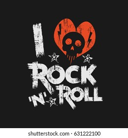 Vector illustration on the theme of rock and roll music. Vintage design.  Grunge background. Skull typography, t-shirt graphics, print, slogan, poster, banner, flyer, postcard