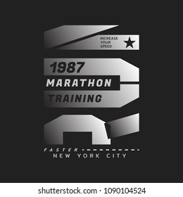 Vector illustration on a theme of run and running in New York City. Sport typography, t-shirt graphics, poster, print, run, banner, flyer, postcard