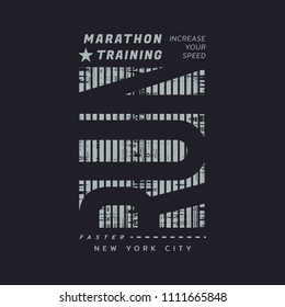 Vector illustration on a theme of run and running in New York City, Brooklyn. Vintage design. Grunge background. Sport typography, t-shirt graphics, poster, print, banner, flyer, postcard